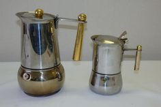 """Other Antiques & Collectables - TWO AWESOME VINTAGE ITALIAN MADE """"INOX TOP"""" STOVE TOP STAINLESS STEEL ESPRESSO PERCOLATOR was sold for R212.00 on 23 Jun at 14:46 by Robsam17 in Johannesburg (ID:149443601)"""