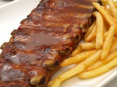 Roasted Pork Ribs with Coca-Cola- Roasted pork ribs with Coca-Cola – MisThermorecetas - Ground Beef Recipes, Pork Recipes, Mexican Food Recipes, Recipies, Love Food, A Food, Food And Drink, Easy Cooking, Cooking Recipes