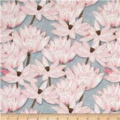Hanami Falls Lotus Blossoms Grey/Pink $9.48/yd www.fabric.com