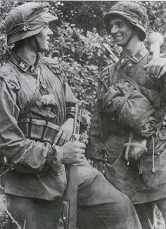Front line combat troops of 12th SS-Panzerdivision Hitlerjugend in Normandy 1944. These young SS-Panzergrenadiers of the HJ Division inflicted devastating losses on the British and Canadian forces, the training which Franz Witt had developed maintaining his unit's morale and fighting ability.