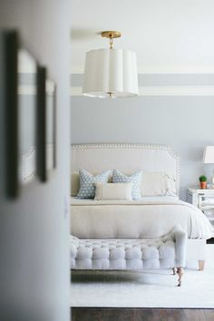 Master Bedroom. Grey Master Bedroom. Grey Master Bedroom Paint Color. Benjamin Moore Grey Master Bedroom Paint Color. #GreyBedroom #MasterBedroom #GreyMasterBedroom #GreyMasterBedroomPaintColor Kate Marker Interiors.