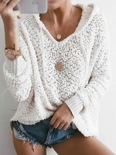 LONG SLEEVE SOLID CASUAL HOODIED TOP