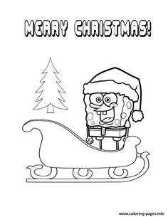 Print spongebob rides christmas sleigh coloring pages