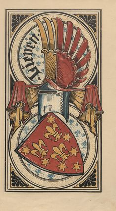 von Lieven (German / native Liv-Latvian) - descendants of the Liv King Caupo the Great. -- Baltischer Wappen-Calendar 1902 (Baltic States Coats of Arms Calendar) published in Riga by E Bruhns with illustrations by M. Family Shield, Book Of Kells, Banner, Scrapbook, Family Crest, Crests, Coat Of Arms, Antique Art, Ancient Art
