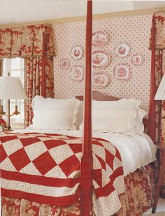 Red Country Bedroom The red and white quilt is a simple touch among the elegance of this room. Bedroom Red, Cozy Bedroom, Bedroom Decor, Bedroom Furniture, Upstairs Bedroom, Pretty Bedroom, Bedroom Designs, Girls Bedroom, Furniture Sets