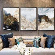 3 pieces gold line original abstract painting on canvas wall art picture for living room home wall decor acrylic gray gold art texture decor 3 Piece Canvas Art, Canvas Wall Art, 3 Canvas Painting Ideas, Big Canvas Art, 3 Panel Wall Art, Acrylic Canvas, Flow Painting, 3 Piece Painting, Living Room Art