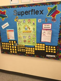 My Superflex bulletin board! using the Social Thinking program with a first grader who loves it! You can find more information and the poster + curriculum at https://www.socialthinking.com