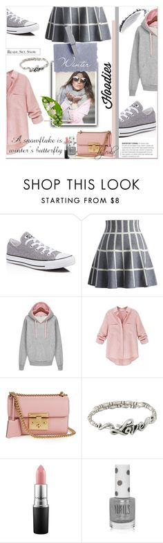 """""""Winter Laying: Hot Hoodies"""" by eula-eldridge-tolliver ❤ liked on Polyvore featuring Converse, Chicwish, Gucci, Alex and Ani, MAC Cosmetics, Topshop, NARS Cosmetics, women's clothing, women's fashion and women"""