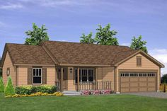 Ranch Style House Plan - 3 Beds 2 Baths 1224 Sq/Ft Plan #116-303 Exterior - Front Elevation - Houseplans.com