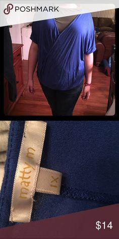 Plus size blue top Very comfy.  Cross in front with button.  Blue top cute with jeans Tops