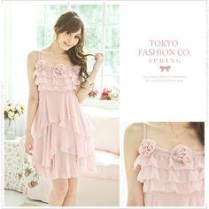 pink chiffon rosette dress