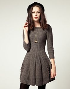 Hobbs Hills Knit Dress With Skater Skirt $150  I think this is Gaga style due to the accents on the lower part of the dress.