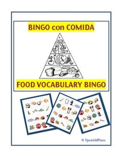 Spanish Bingo with  Food Vocabulary. Clues are descriptions of the food. Makes it more higher level thinking than just a translation!