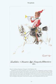 The Confederation of the Rhine - Westphalia: Plate 11. 1st Hussar Regiment, Trumpeter, Field Uniform, 1812
