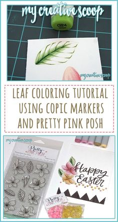 Leaf Coloring Tutorial Using Copic Markers and Pretty Pink Posh Cherry Blossom stamp set. The flowers are R85, R83, R81, Y26 and Y21. I also used a lot of my white gel pen for the details in the center of the flower.