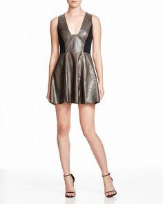 Alice + Olivia Reza Leather Panel Dress