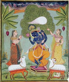 Krishna dancing atop a stool, attended by two gopis. | Flickr