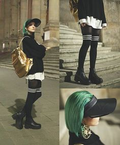 Gina Vadana - Choies Over Knee Socks, Super Colour Visor, Mipac Backpack - THE NIGHT