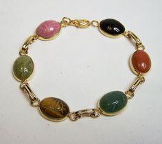 Vintage Carved Stone 6 Scarab Bracelet Gold by GretelsTreasures