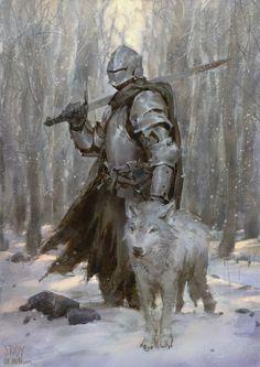 The Spectre Hunter - ArtStation - Daily Study, Krenz Cushart Fantasy Armor, Medieval Fantasy, Fantasy Character Design, Character Art, Armadura Medieval, Knight Art, Wolf Knight, Templer, Armor Concept