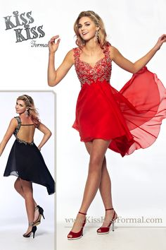 Chiffon prom dress with sweetheart neckline, A-line high-low skirt silhouette, re-embroidered lace appliques with beads and sequins on straps, bodice, and waistline.
