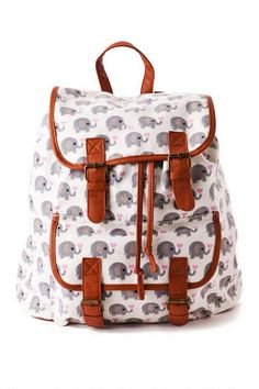 "Are you an animal lover? Then you will love the Cameroon Elephant Backpack! Novelty elephants with hearts are printed all over this drawstring backpack. Finished with an exterior pocket & interior pocket.<br><br> - 18.5"" length x 16"" Height x 14"" Width<br> - Imported <br>"