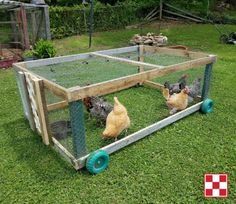 """Portable chicken run: """"I call this my chicken stroller. We built it out of materials we had on hand – 2x4s, chicken wire, a piece of lattice for the sliding door, a wheel barrel handle and some extra wheels. The chickens love it! We open the gate from the chicken pen, push it close to the coop and they go in one by one. Then, I can move them around in the yard anywhere I want to without them getting in my garden. Plus, they eat grass and fertilize as they go."""" – Jessie A."""
