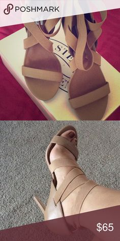 Steve Madden Heels Only worn these once sorry guys im just not use to high heels but i love them! They are comfortable the strechy straps feel nice. Steve Madden Shoes Heels