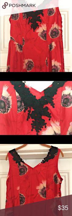 Silk & lace floral mini dress Silk with lace trim, laced side mini dress Leifsdottir Dresses Mini