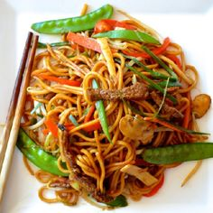 A delicious beef lo mein adapted from a real takeout chef!