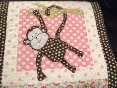 Custom Baby Quilt Butterflies Ladybugs And A Monkey In The Middle