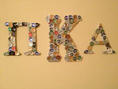 Pike beer bottle cap letters I made for Christmas for my boyfriend