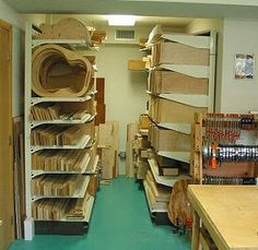 Very nice wood storage.  The Luthiers Workshop: M Campellone Guitars