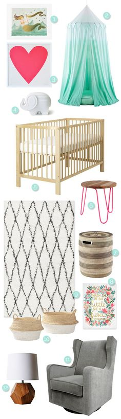 Check out these fun, fresh and modern nursery ideas for a little girl at The Sweetest Occasion!