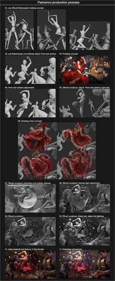 140725 flamenco final2 Zbrushと3dsMaxと無料の人物CGモデル生成ソフトMakehuman等で制作された、描き込みと物量が物凄い静止画作品『Flamenco』。制作過程の分かる簡単なメイキング付き!