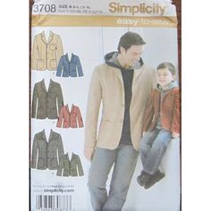 Amazon.com: SIMPLICITY PATTERN 3708 BOYS' AND MEN'S JACKET SIZE A S-L/ S-XL: Kitchen & Dining