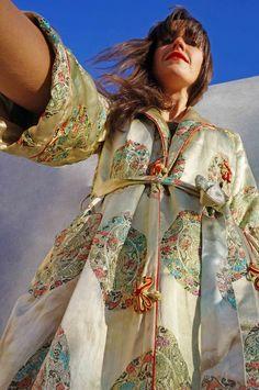 Vintage Silk Embroidered Kimono Duster Coat - Ada's Attic Vintage