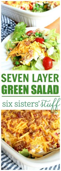 Seven Layer Salad {Tasty Green Salad!) - - This tasty, fresh salad is easy-to-make and so much easy-to-serve than your traditional seven layer salad! Nobody misses out on any layer with our take on this classic midwestern side dish. Barbecue Sides, Barbecue Side Dishes, Seven Layer Salad, Cooking Recipes, Healthy Recipes, Fun Recipes, Healthy Salads, Summer Recipes, Healthy Foods