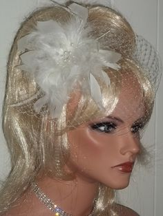 Ivory Feather Bridal Fascinator French Net by kathyjohnson3, $52.00