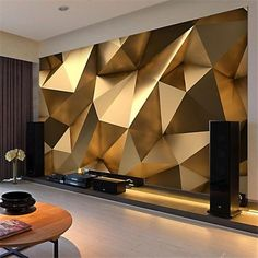 Custom photo wallpaper stereo abstract space golden geometry mural modern art creative living room hotel study wall paper 3 d free widescreen desktop wallpaper free widescreen wallpaper from price dhgate com Ceiling Design, Wall Design, House Design, Design Art, Design Ideas, Design Hotel, Diy Design, Home Wallpaper, Custom Wallpaper