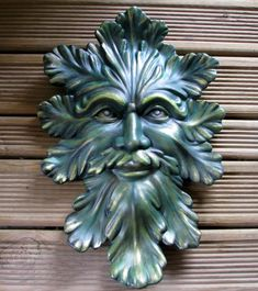 Ceramic Green Man Wall Hanging 14 inches hand by aarceramics