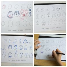 Emotion Studies - Creating Emotive Characters (one of many great drawing exercises in a free printable drawing guide)