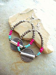 Boho Earrings - African Earrings - Hippie Earrings - Boho Jewellery - Wire Hoops Earrings - Yoga Jewellery