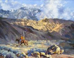 Lot 257A- James Ralph Johnson (1922-1997 New Mexico) ''Low Clouds'' Oil on Masonite 16''x20'' Image. Depicting two lone cowboys on horseback in teh San Jacinto Mountains, California. Signed l.r. Ornate gilt frame with title plate. Total framed size 27.5''x31.5''.