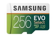 Samsung 256GB 100MB/s (U3) MicroSDXC EVO Select Memory Card with Adapter (MB-ME256GA/AM)  Up to 100MB/s & 90MB/s read & write speeds respectively; Class 10 UHS 3  High-performance for 4K UHD video recording, high resolution pictures, mobile gaming and music, for use in Smartphones, Drones, Android Tablets, Tablet PCs, Action Cameras, DSLRs and more  Full-Size adapter included  10-year limited warranty