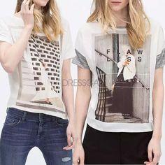 New Ladies Women Fashion O-neck Short Sleeve Print Loose Casual T-shirt Blouse
