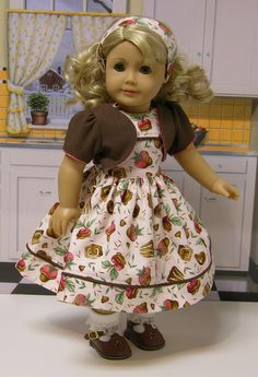 Chocolate Covered Strawberry dress for American Girl doll with jacket. $62.00, via Etsy.