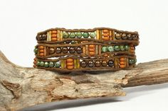 Wrap bracelet. Bronzite copper jasper gemstones. by CarolMade, $44.00