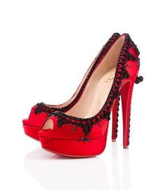 Red and black high heels.  I couldn't wear these, but they're niiiiice :)