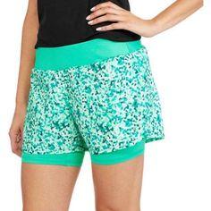 Danskin Now Women's Active 2fer Printed Running Short, Size: Large, Green